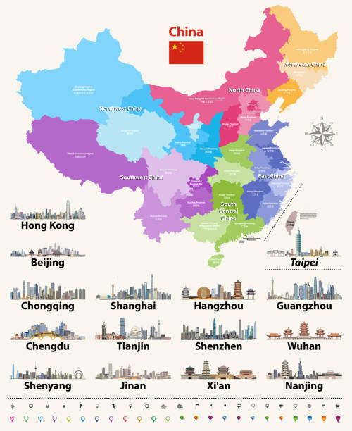 vector map of china provinces colored by regions. - china map stock illustrations, clip art, cartoons, & icons