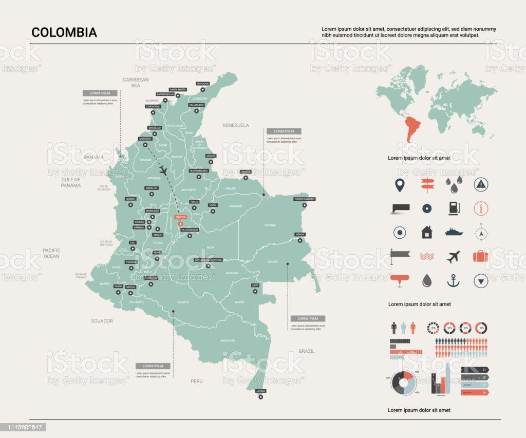 Mapa De Colombia Ciudades.Ilustracion De Mapa Vectorial De Colombia Alto Mapa