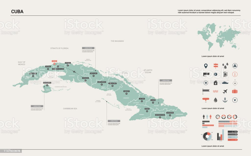 Vector Map Of Cuba High Detailed Country Map With Division ...