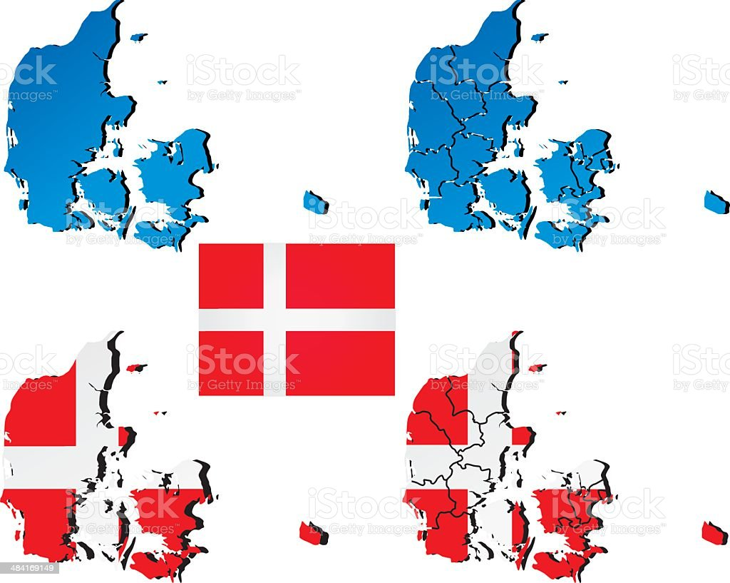 Vector map of Denmark filled with flag of the state vector art illustration