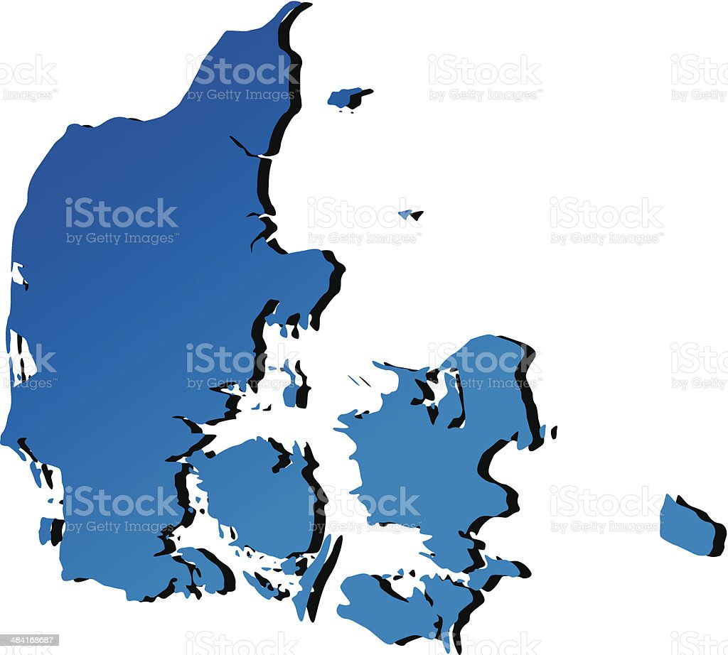 Vector map of denmark vector art illustration