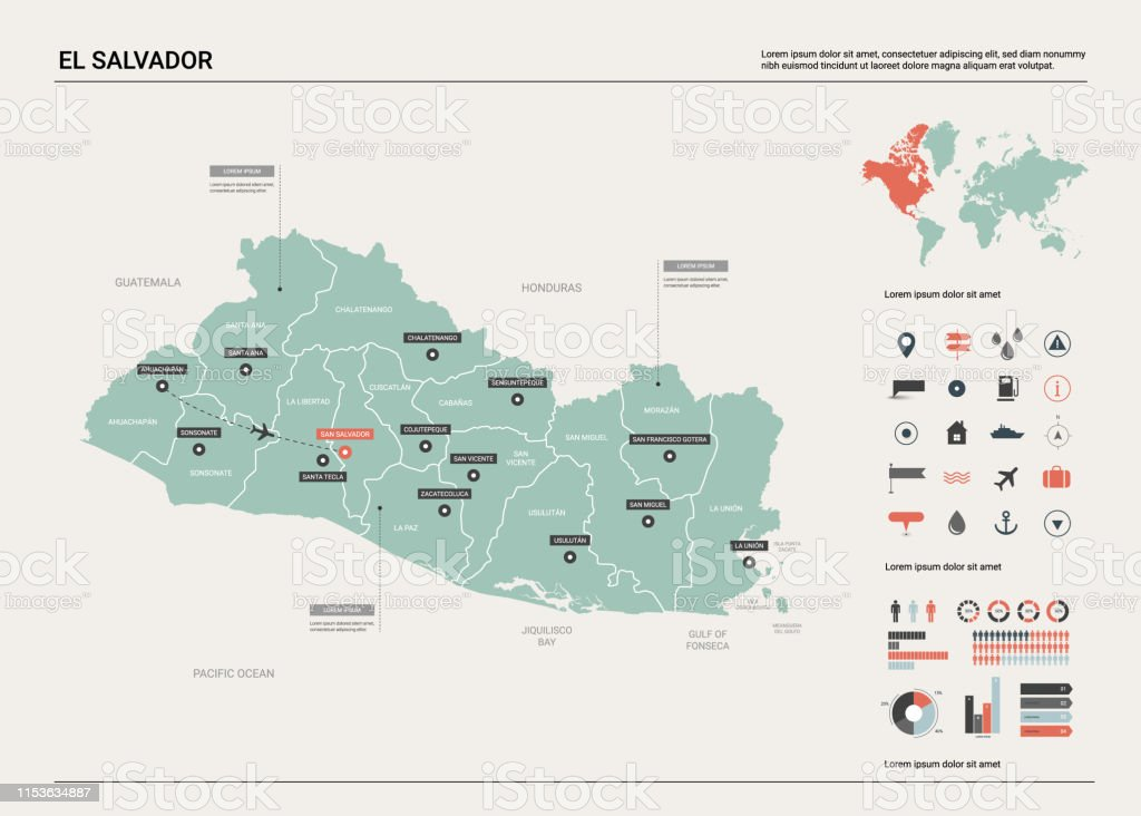 Vector Map Of El Salvador Country Map With Division Cities And ... on