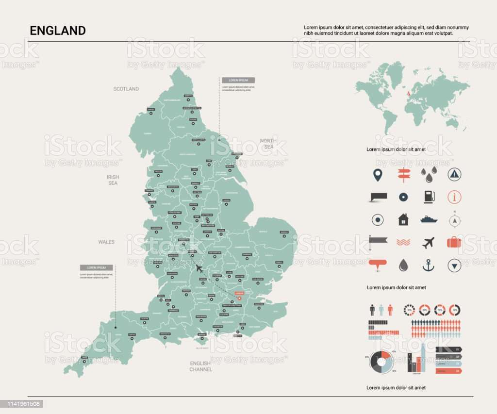 Map Of England Political.Vector Map Of England High Detailed Country Map With Division Cities