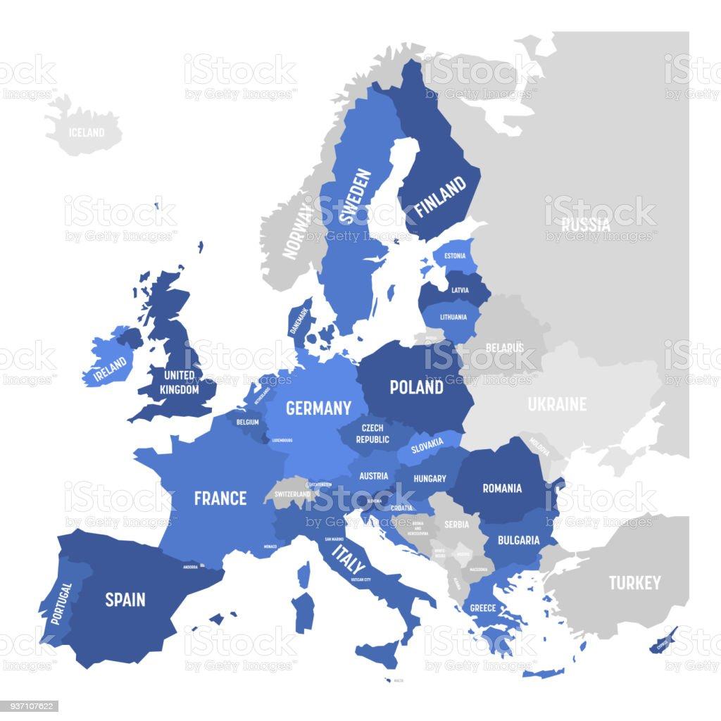 AB, Avrupa Birliği vektör harita vektör sanat illüstrasyonu
