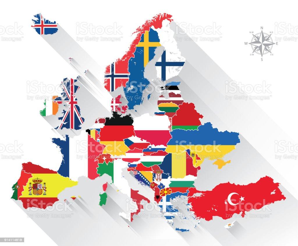 Vektorkarte von Europa gemischt mit Länder-Flaggen – Vektorgrafik