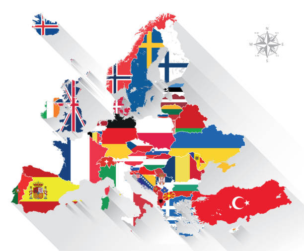 illustrations, cliparts, dessins animés et icônes de carte de vecteur d'europe mélangé avec des drapeaux de pays - cartes et drapeaux