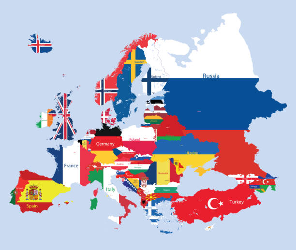 vector map of Europe mixed with countries flags vector map of Europe eurasia stock illustrations