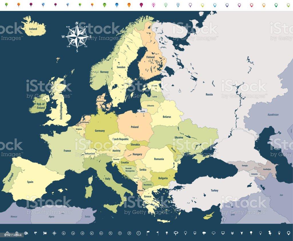 Karta Lander I Europa.Vektor Karta Over Europa Med Lander Namn Och Granser Vektorgrafik