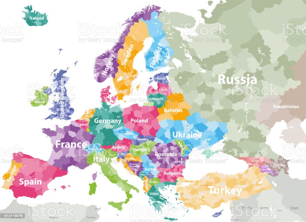 vector map of europe with countries names and regions borders royalty free vector map of