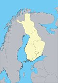High detailed vector map of Finland with provinces. This map was traced using as reference NASA public domain Hi-res pictures from http://visibleearth.nasa.gov/view.php?id=74092  and treated in Illustrator and specialized GIS software (Qgis, mapublisher, global mapper...) on nov.-14-2009. Illustration has one layer