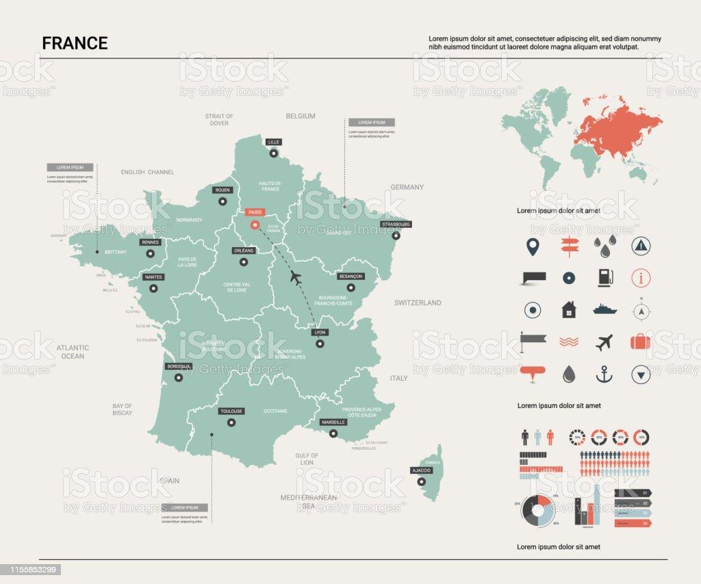 Frankreich Karte Stadte.Vector Karte Von Frankreich Landkarte Mit Division Stadte