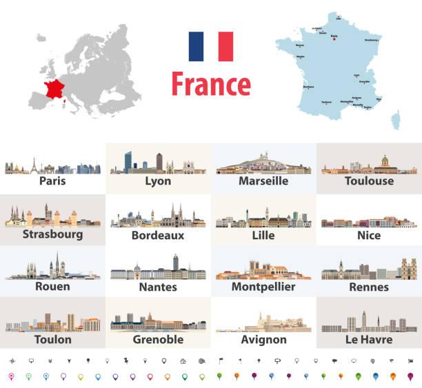 illustrations, cliparts, dessins animés et icônes de carte vectorielle de la france avec les principales villes sur elle. français villes skylines icônes - nantes