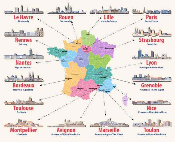 illustrations, cliparts, dessins animés et icônes de carte vectorielle de la france avec les principales villes sur elle. français villes skylines icônes détaillées - nantes
