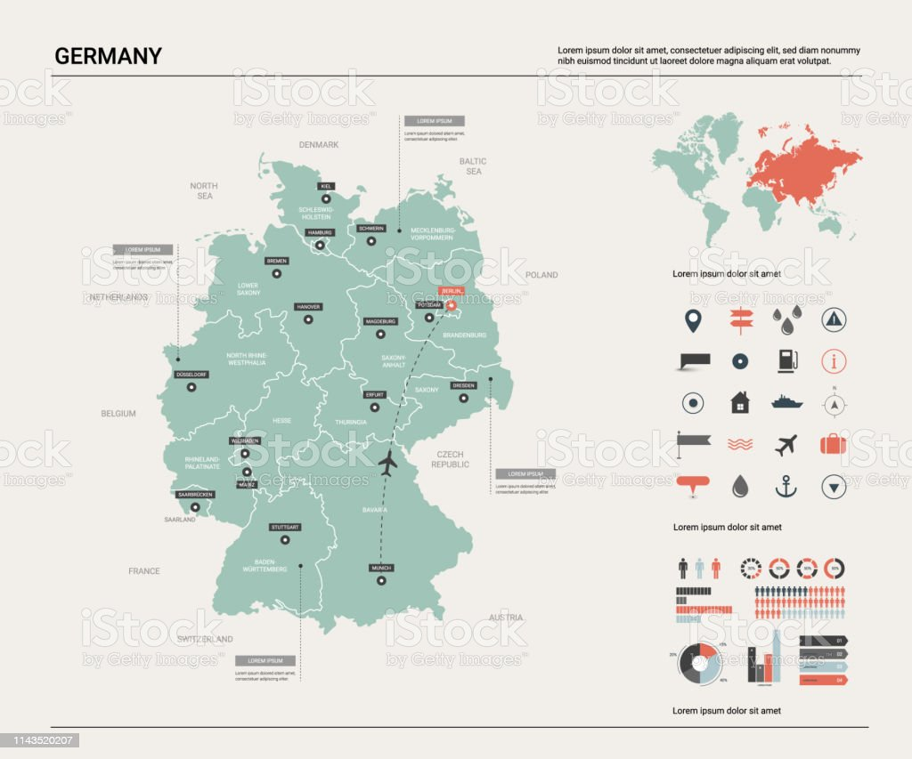 Image of: Vector Map Of Germany High Detailed Country Map With Division Cities And Capital Berlin Political Map World Map Infographic Elements Stock Illustration Download Image Now Istock