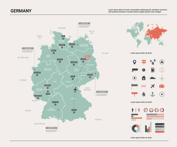 wektorowa mapa niemiec.  wysoka szczegółowa mapa kraju z podziałem, miastami i stolicą berlina. mapa polityczna, mapa świata, elementy infografiki. - niemcy stock illustrations