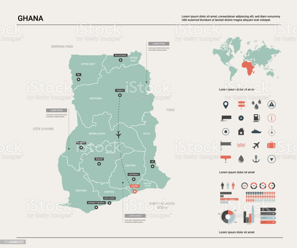 Vector Map Of Ghana High Detailed Country Map With Division ...