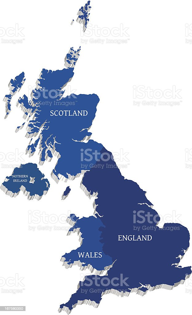Vector map of Great Britain on white isolated vector art illustration