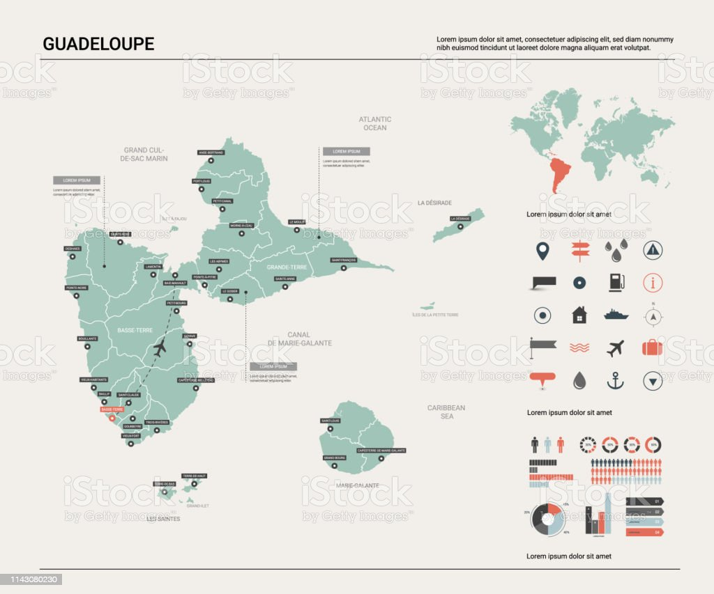 Vector Map Of Guadeloupe High Detailed Country Map With Division Cities And Capital Political Map World Map Infographic Elements Stock Illustration Download Image Now Istock