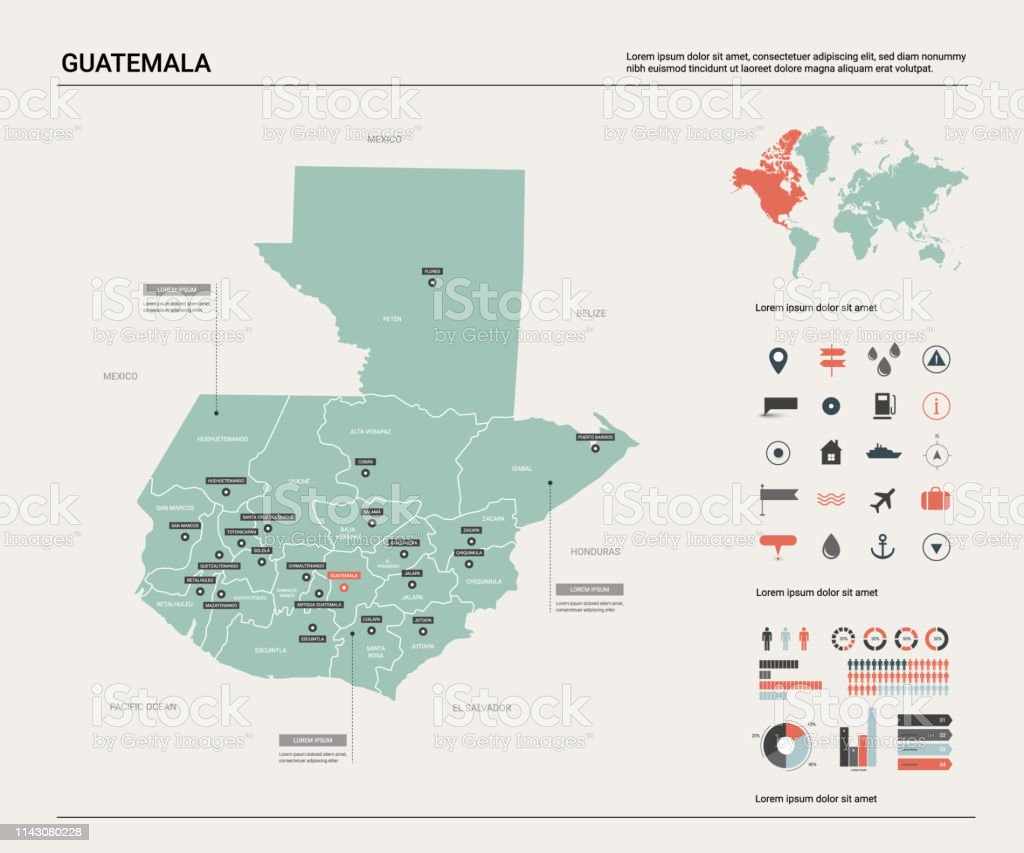 Picture of: Vector Map Of Guatemala High Detailed Country Map With Division Cities And Capital Political Map World Map Infographic Elements Stock Illustration Download Image Now Istock