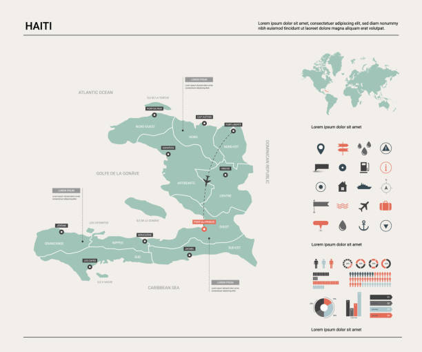 Vector map of Haiti.  High detailed country map with division, cities and capital  Port-au-Prince. Political map,  world map, infographic elements. Vector map of Haiti.  High detailed country map with division, cities and capital  Port-au-Prince. Political map,  world map, infographic elements. haiti stock illustrations