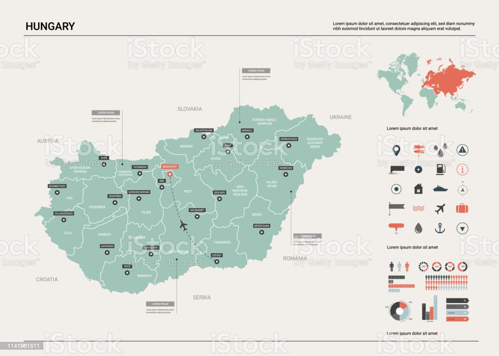Vector map of Hungary. High detailed country map with division,...