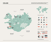Vector map of Iceland. High detailed country map with division, cities and capital Reykjavik. Political map,  world map, infographic elements.