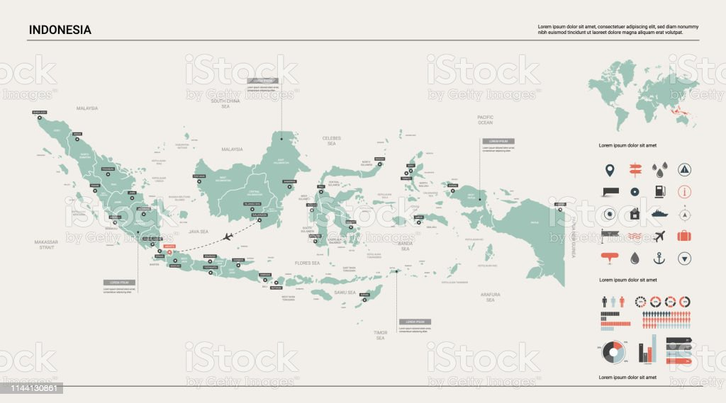 Vector Map Of Indonesia High Detailed Country Map With ... on pyongyang world map, munich world map, kolkata world map, moscow world map, mexico city world map, mumbai world map, riyadh world map, shanghai world map, lima world map, seoul world map, tokyo on world map, yangon world map, tehran world map, dhaka world map, los angeles world map, ho chi minh world map, karachi world map, kabul world map, kuala lumpur on world map, santiago world map,