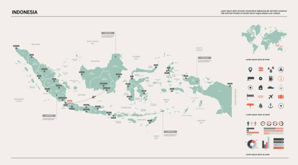 인도네시아의 벡터 지도입니다.  디비전, 도시 및 자본 자카르타와 높은 상세한 국가 지도. 정치 지도, 세계 지도, 인포 그래픽 요소. - 자카르타 stock illustrations