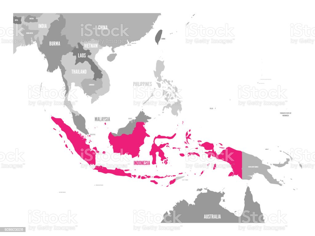 Vector map of indonesia pink highlighted in southeast asia region vector map of indonesia pink highlighted in southeast asia region royalty free vector map gumiabroncs Choice Image