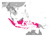 Vector map of Indonesia. Pink highlighted in Southeast Asia region