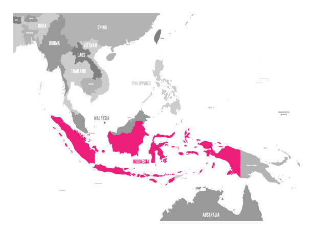 Vector map of Indonesia. Pink highlighted in Southeast Asia region Vector map of Indonesia. Pink highlighted in Southeast Asia region. indonesia stock illustrations