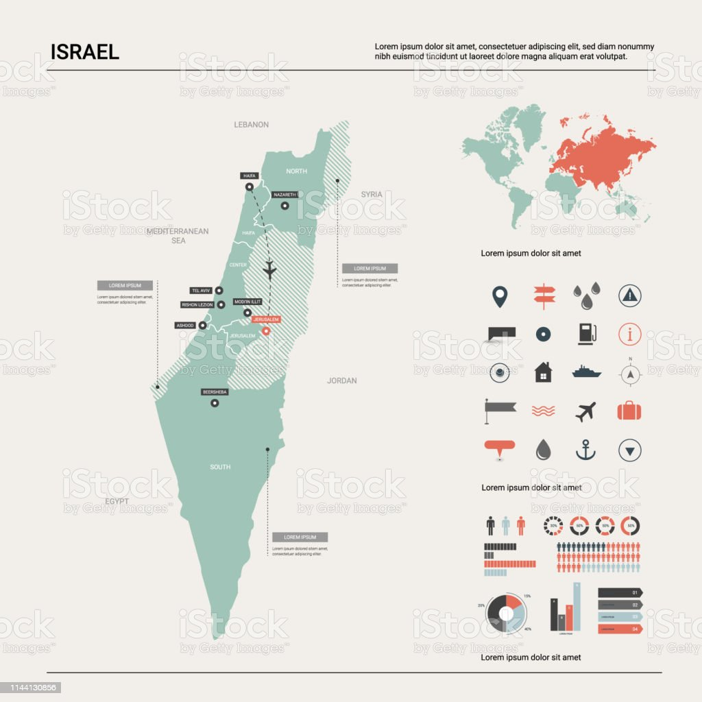 Vector Map Of Israel High Detailed Country Map With Division ...