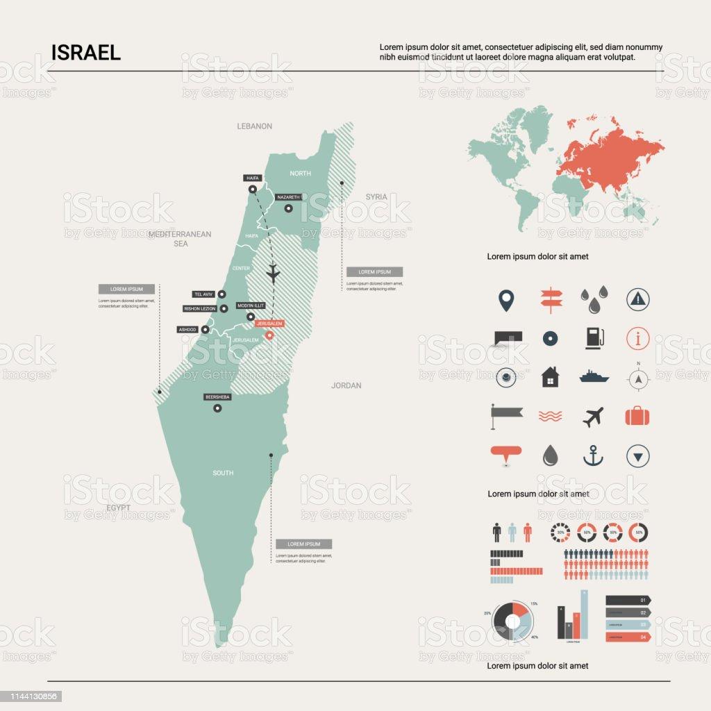 Israel Jerusalem Karte.Vector Karte Von Israel Hochdetaillierte Landkarte Mit