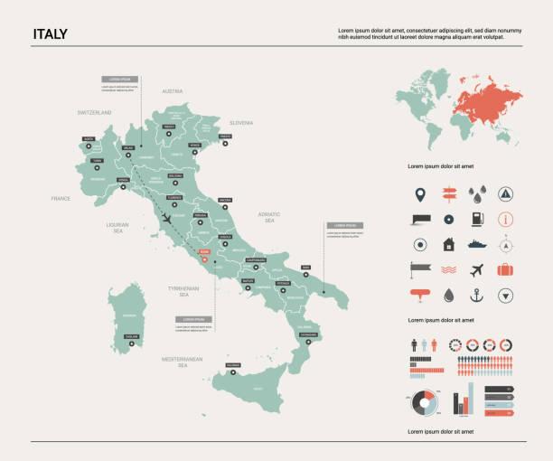 stockillustraties, clipart, cartoons en iconen met vector kaart van italië. hoge gedetailleerde landkaart met afdeling, steden en kapitaal rome. politieke kaart, wereldkaart, infographic elements. - italie