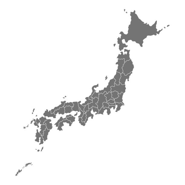 japonya haritası vektör - hiroshima stock illustrations