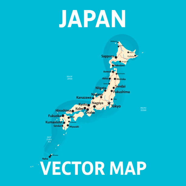 日本的向量地圖與城市和路在分開的層數 - hiroshima 幅插畫檔、美工圖案、卡通及圖標