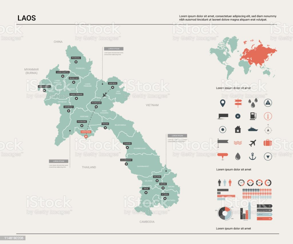 Picture of: Vector Map Of Laos High Detailed Country Map With Division Cities And Capital Vientiane Political Map World Map Infographic Elements Stock Illustration Download Image Now Istock