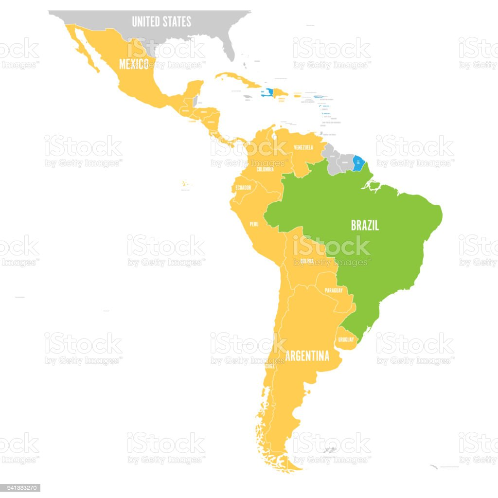 Vector map of latin america with differently highlighted language vector map of latin america with differently highlighted language groups spanish portuguese and french gumiabroncs Gallery