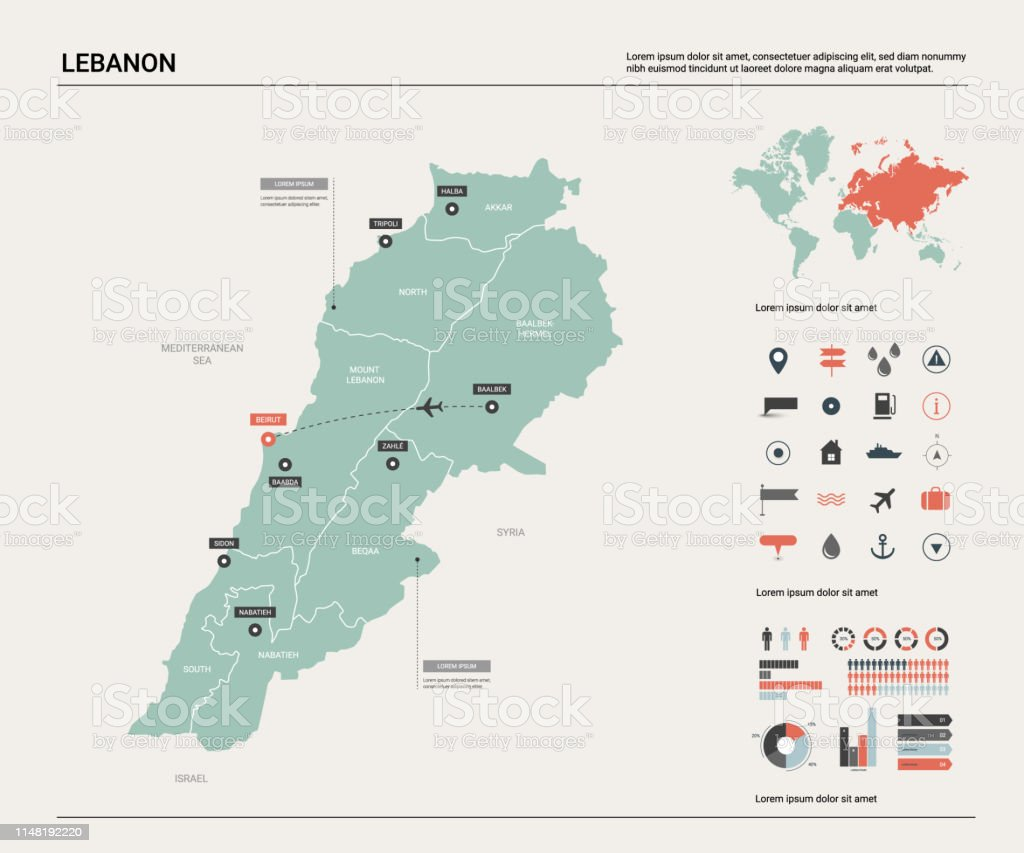 Vector Map Of Lebanon High Detailed Country Map With ...