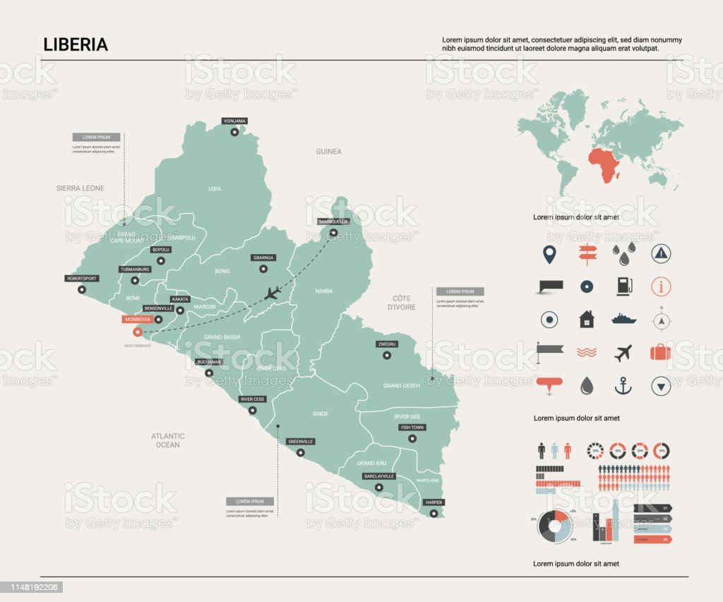 Picture of: Vector Map Of Liberia High Detailed Country Map With Division Cities And Capital Monrovia Political Map World Map Infographic Elements Stock Illustration Download Image Now Istock