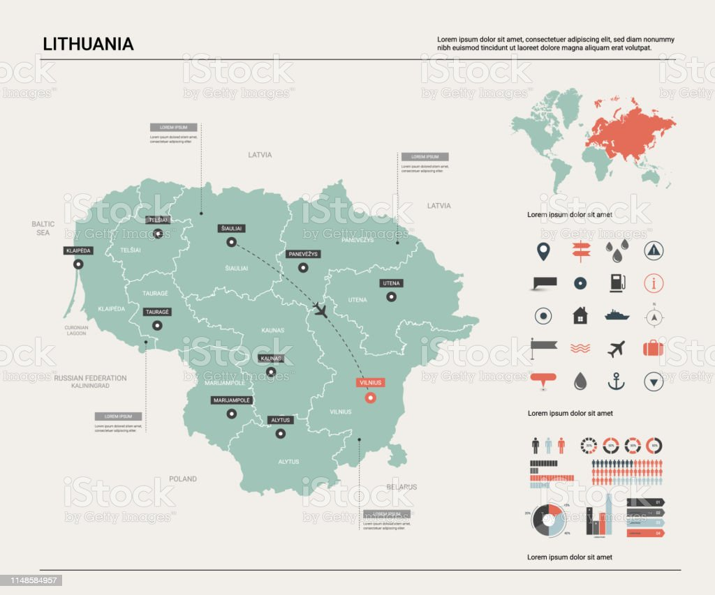 Image of: Vector Map Of Lithuania High Detailed Country Map With Division Cities And Capital Vilnius Political Map World Map Infographic Elements Stock Illustration Download Image Now Istock