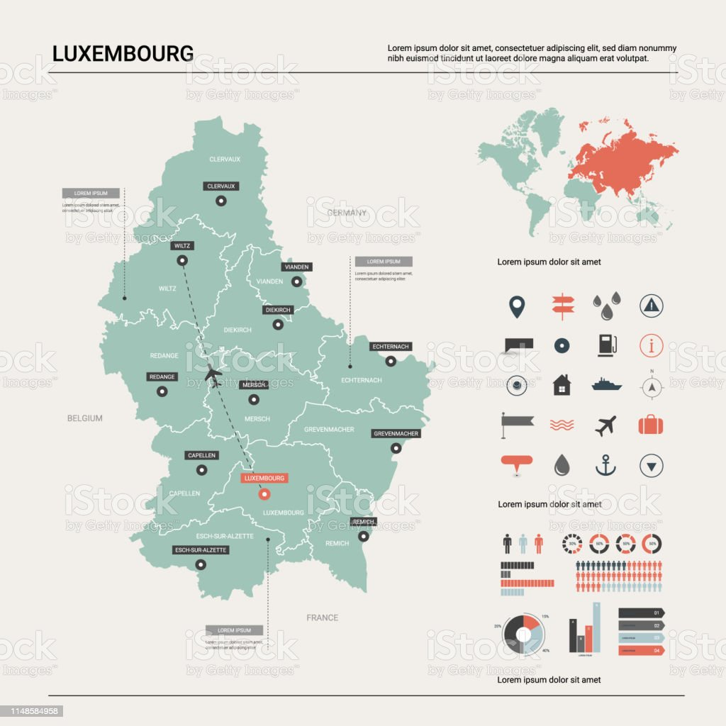 Map Of France And Luxembourg.Vector Map Of Luxembourg Country Map With Division Cities And