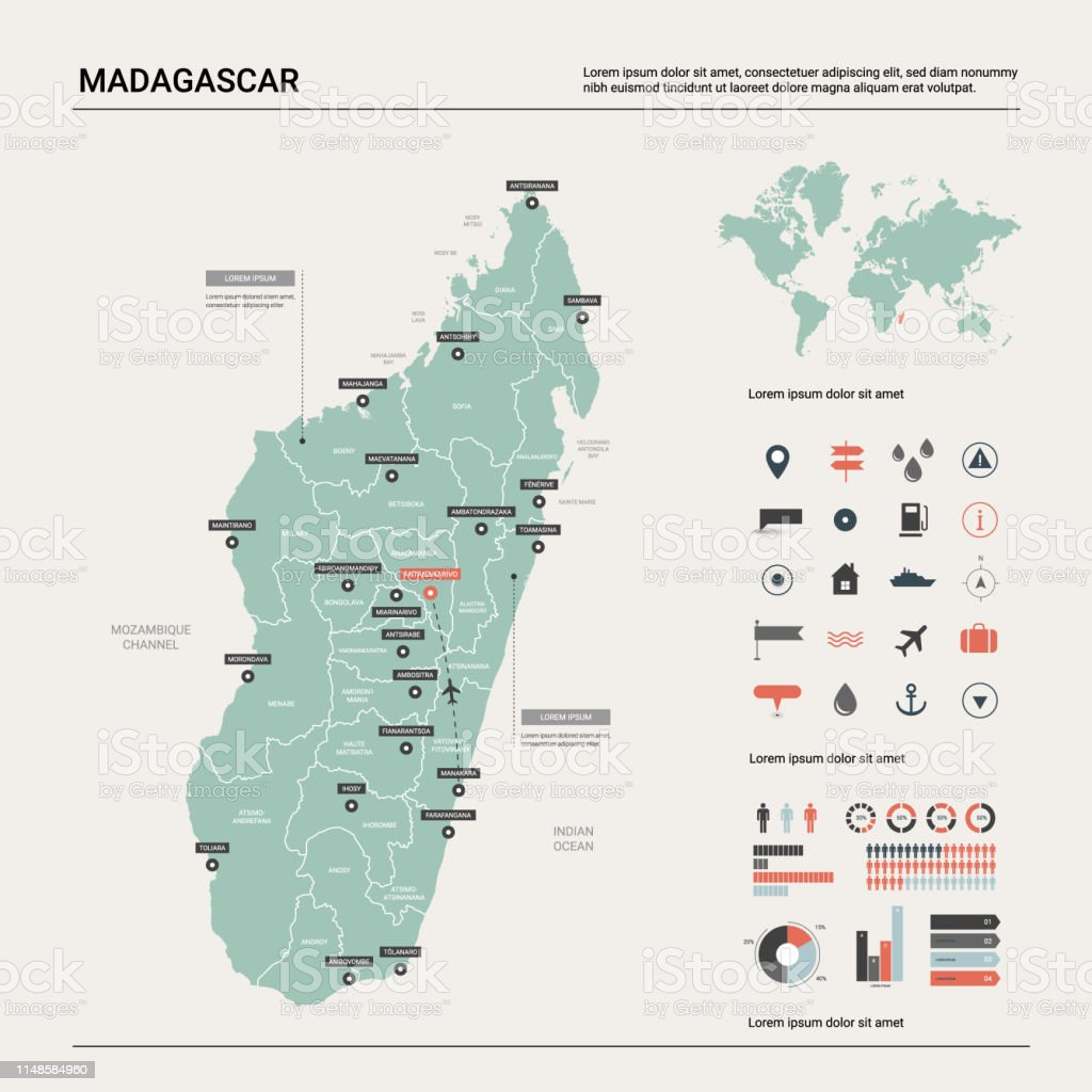 Vector Map Of Madagascar Country Map With Division Cities ...