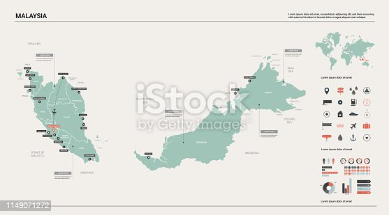 Vector map of Malaysia. Country map with division, cities and capital Kuala Lumpur. Political map,  world map, infographic elements.