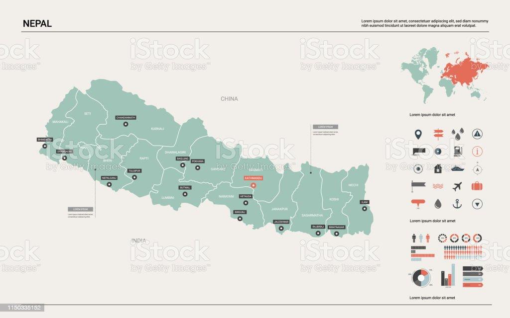 Vector Karte Von Nepal Landkarte Mit Division Städte Und ...