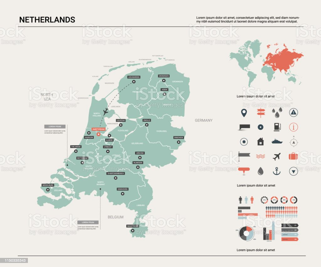 Vector Map Of Netherlands Country Map With Division Cities And Capital Amsterdam Political Map World Map Infographic Elements Stock Illustration Download Image Now Istock