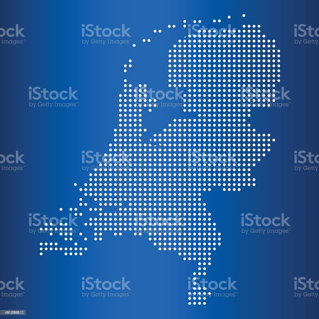 vector map of Netherlands with circle dot vector art illustration