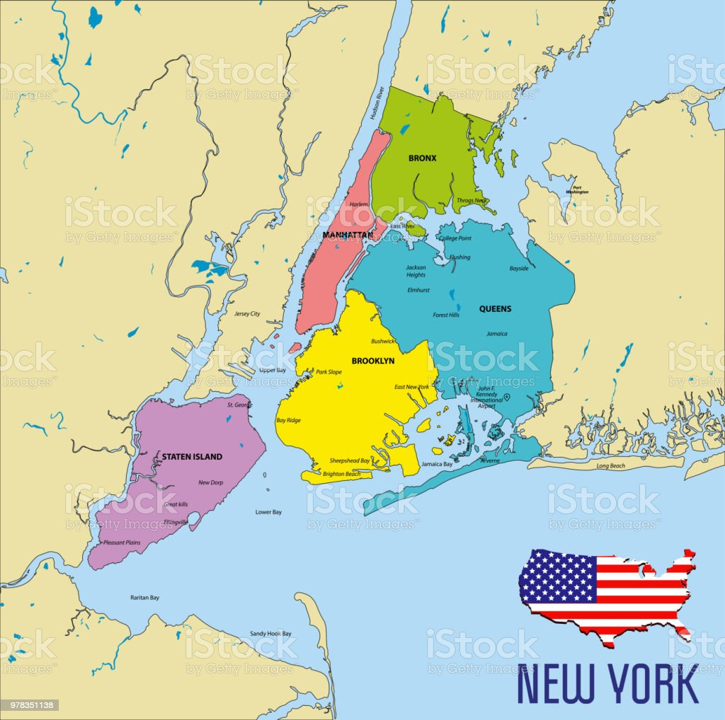 Mapa De New York.Vector Map Of New York Stock Illustration Download Image