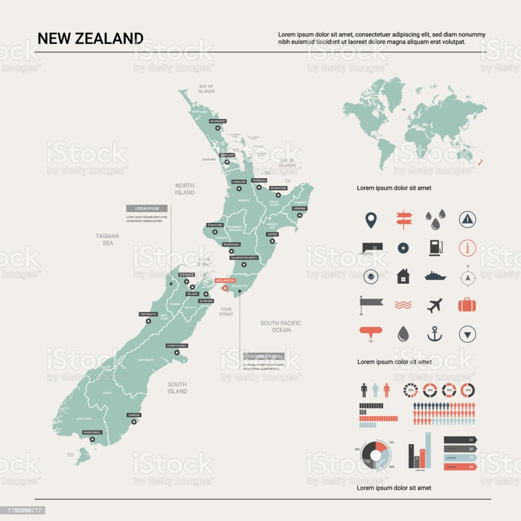 New Zealand Map On World.Vector Map Of New Zealand Country Map With Division Cities And
