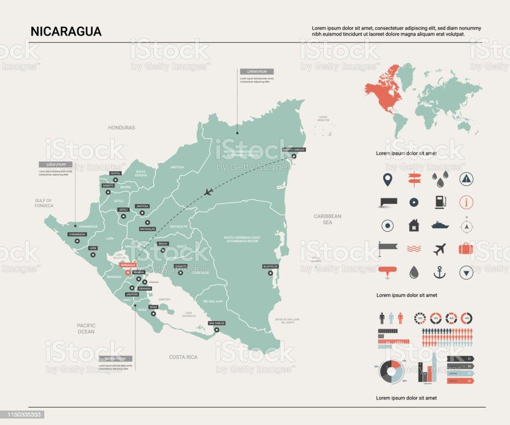 Vector Karte Von Nicaragua Landkarte Mit Division Städten ...